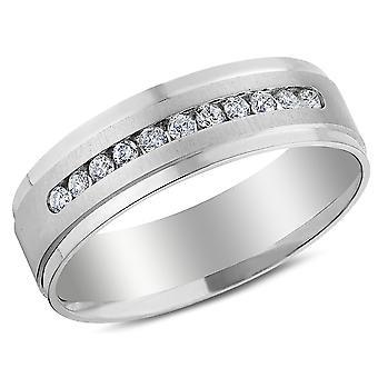 Mens 1/4 Carat (ctw H-I, I1-I2) Diamond Wedding Band in 14K White Gold