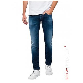 Replay Jeans Slim fit Hyperflex + Anbass jeans-donkerblauw