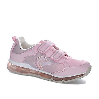 Junior Girls Geox Android Trainers In Pink- Hook And Loop Strap Fastening-