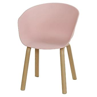 Fusion Living Eiffel Inspired Pastel Pink Plastic Armchair With Light Wood Legs