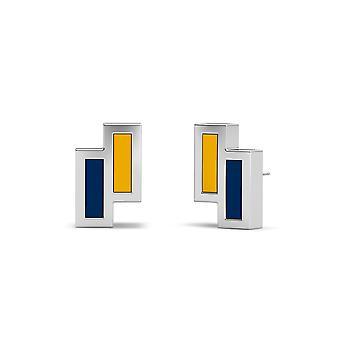 West Virginia University Sterling Silver Asymmetrisk emalj Stud örhängen i gult och blått