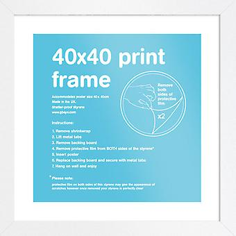 Eton wit Frame 40x40cm Poster / Frame afdrukken