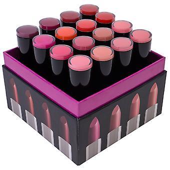 SHANY (não so) doce dezesseis creme batom Set-Smooth, altamente pigmentadas Lip Shades para todos os dias Wear-16 cores variadas