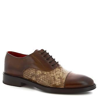 Leonardo Shoes Męskie's ręcznie sznurowane-upy buty brandy cielę skóra python print