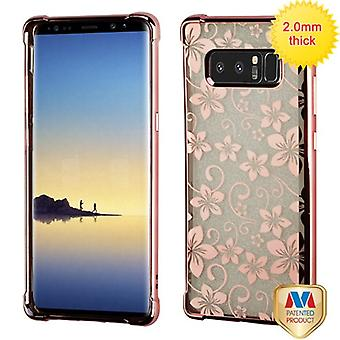 MYBAT Rose Gold Electroplating/Hibiscus Flower Sheer Glitter Premium Candy Skin Cover pour Galaxy Note 8