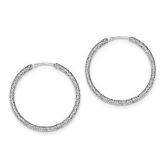 925 Sterling Silver Glitter Laser cut Laser Cut Endless Hoop Earrings Jewelry Gifts for Women