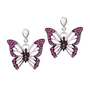 Wieczne kolekcji Flutter motyl różowy Crystal Silver Tone upuszczając klipsy