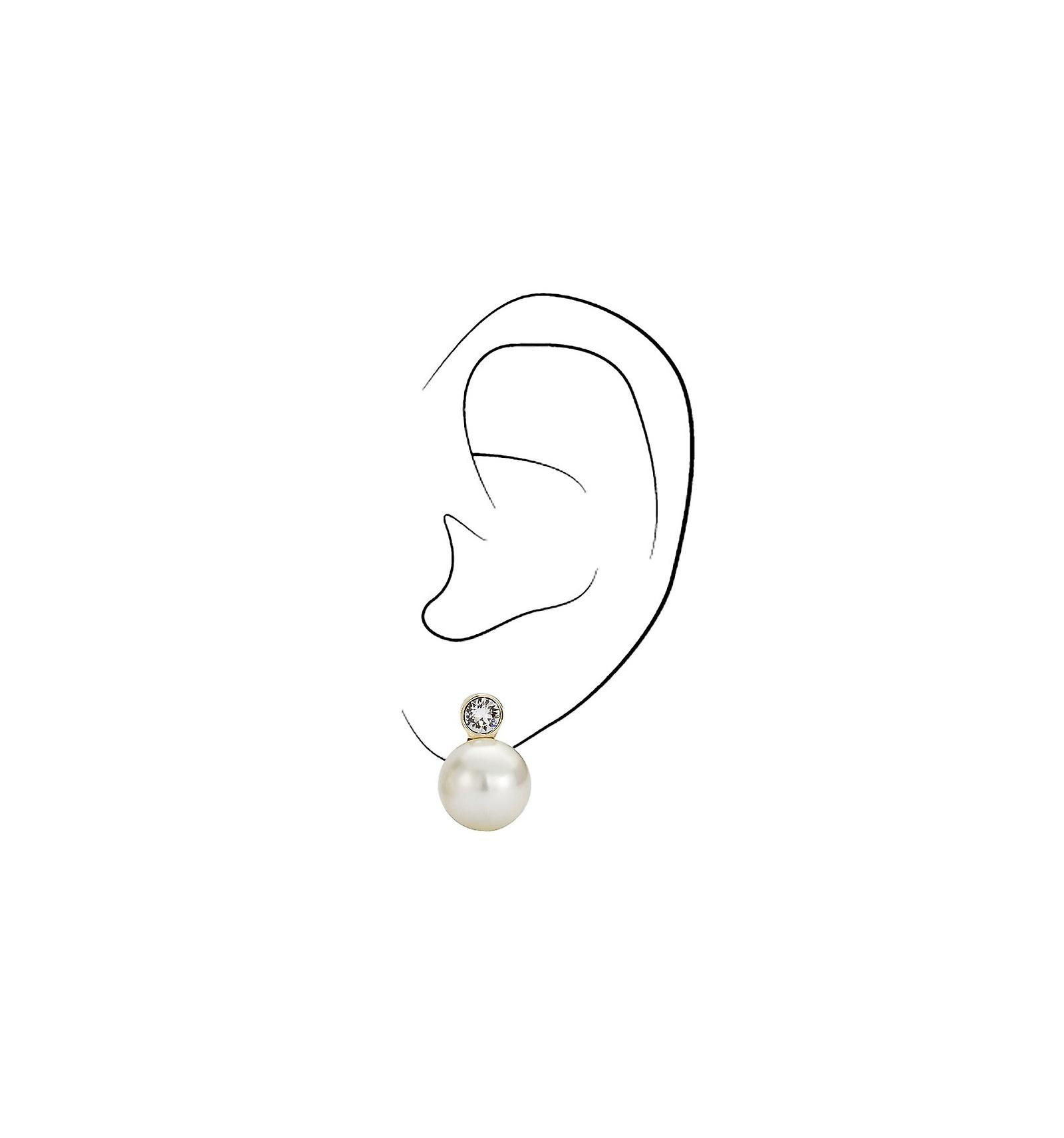 Reiziger clip Earring-12mm crème Pearl-22ct verguld-113486