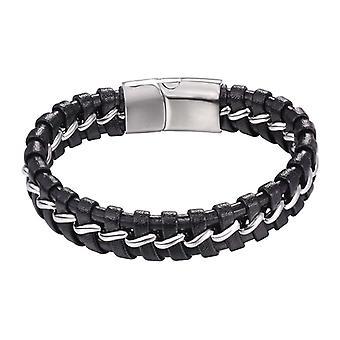 U7 geflochtenes Armband mit Metallstreifen-Schwarz und Silber