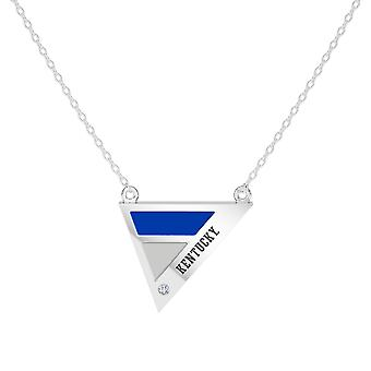 University Of Kentucky Engraved Sterling Silver Diamond Geometric Necklace In Blue and Grey
