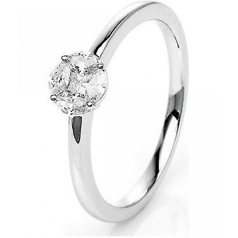 Bague en diamant - 18K 750/- or blanc - 0.27 ct. Taille 52