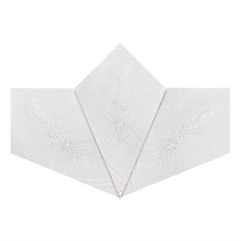 Womens/Ladies Handkerchiefs White Cotton With White Floral Embroidery & Satin Borders
