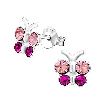 Butterfly - 925 Sterling Silver Crystal Ear Studs - W19247x