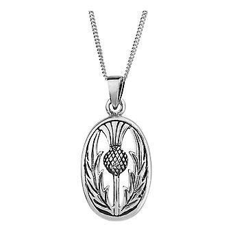"""Schottische Distel Blume von Schottland Halskette Anhänger Oval - enthält 18"""" Kette"""