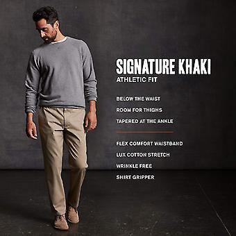 Dockers Men's Athletic Fit Signature Khaki Lux Cotton, Navy, Size 34W x 34L