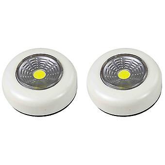 2X Arcas nasuňte světelný indikátor COB LED + 6rychlostní baterie AAA, bílá barva