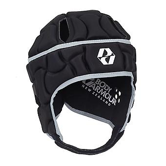 Body Armour NZ Club lasten Rugby League Union Headguard Scrumcap musta