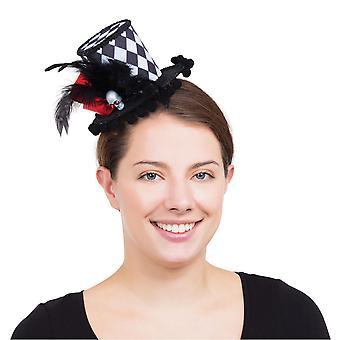 Bristol Novelty Womens/Ladies Harlequin Skull Mini Top Hat Accessory