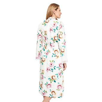 Cyberjammies 1346 Mulheres's Nora Rose Lydia Cream Off White Floral Print Cotton Long Robe