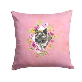 Carolines Treasures  CK4113PW1414 Akita Pink Flowers Fabric Decorative Pillow