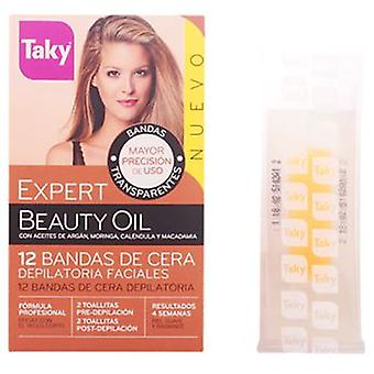 Taky Depilatory Facial Wax Bands Beauty Oil 12 uds