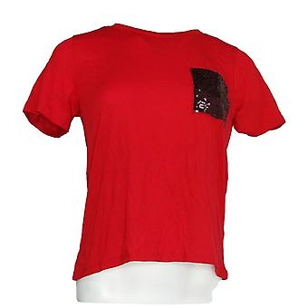Crave Fama Women 's Top Knit Sequin Pocket Short Sleeve Red