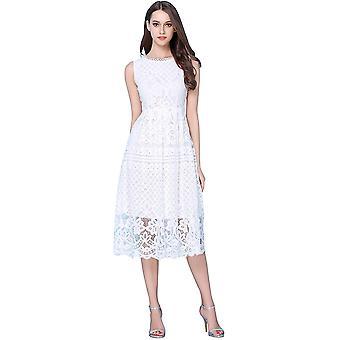 VEIISAR Frauen's ärmellose Runde Hals Scalloped Prom, L0201 weiß, Größe X-large