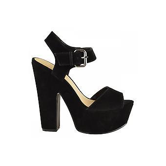 Elise Black Suede Chunky Heels