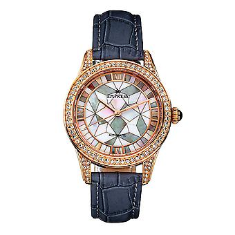 Empress Augusta Automatic Mosaic Mother-of-Pearl Leather-Band Watch - Rose Gold/Grey
