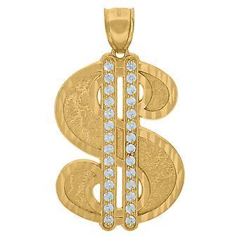 10 k Gelbgold Herren Zirkonia CZ Dollar Zeichen Anhänger Anhänger Halskette Maßnahmen 50x28.00mm breite Schmuck Geschenke für Männer