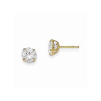 14k Yellow Gold Madi K 6mm Round CZ Cubic Zirconia Simulerad Diamond Basket Set Stud Örhängen Smycken Gåvor för kvinnor