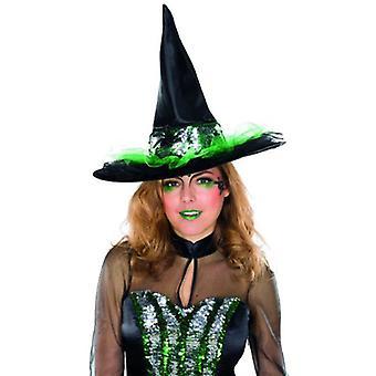 Witch Hat reversibel sequin tilbehør Halloween voksen
