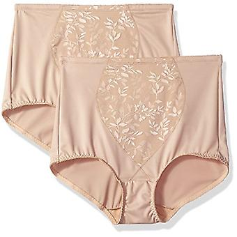 Bali Women's Tummy Panel Brief Firm Control 2-Pack,, Nude Jacquard, Size 2.0