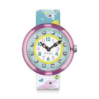 Flik Flak Watches Fbnp035 Splashy Dolphins Pink & Green Textile Watch