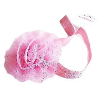 Hårbånd til baby i tyl med blomst, Pink