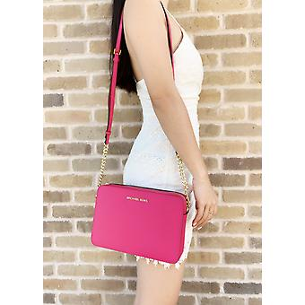 Michael kors jet set large east west crossbody electric pink saffiano