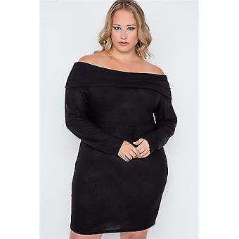 Plus size zwarte off-the-shoulder lange mouw jurk