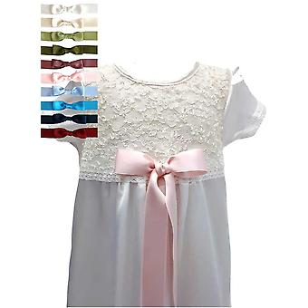 Baptism Gown With Short Sleeve And Lace Body. 10 Choices Of  Bow - Grace Of Sweden