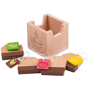 Bigjigs Toys Wooden Pretend Play Tea Bags - Roleplay Food Kitchen Accessories
