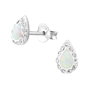 Teardrop - 925 Sterling Silver Opal And Semi Precious Ear Studs - W31516x