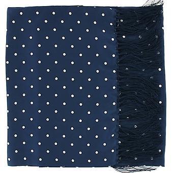 Michelsons i London Wide Polka Dot Silk Scarf - Marinblå