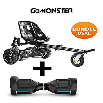 "6.5"" G PRO Black Bluetooth Hoverboard with Go Monster Hoverkart in Black"