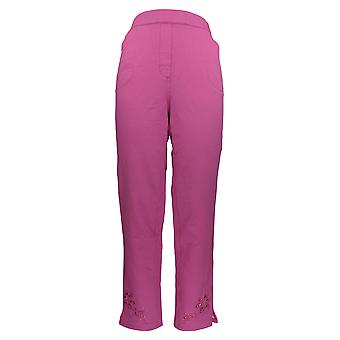 Quacker Factory Women's Pants w/ Ankle Length & Front Pockets Pink A351156