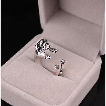 SIlver pierścień z psem przytulanie palec