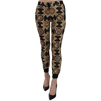 Versace Jeans Black and Gold Printed Elasticated COUTURE Trackpants