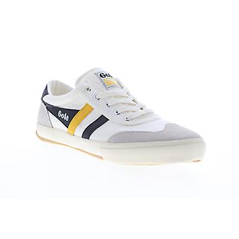 Gola Badminton  Mens White Canvas Lace Up Lifestyle Sneakers Shoes