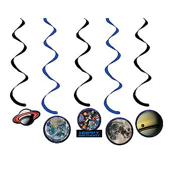 5 Pack Outer Space Blast Hanging Swirl Party Décorations