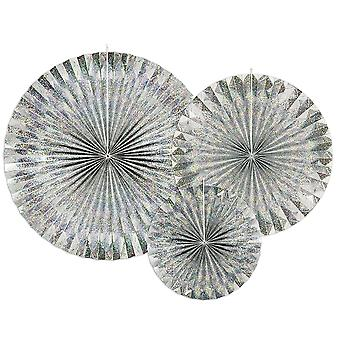 3 Silver Holographic Hanging Paper Fan Party Decorations