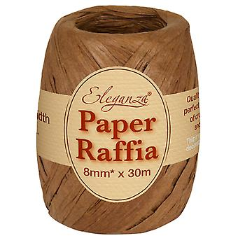 Chocolate Brown 8mm x 30m Paper Raffia Ribbon Roll - Recyclable & Biodegradable
