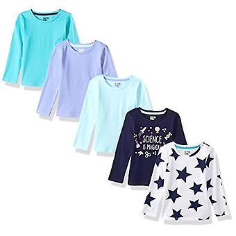Marke - Spotted Zebra Girls' Big Kid 5-Pack Langarm T-Shirts, Blau...